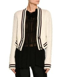 No.21 No 21 Cable Knit Button Front Wool Blend Cardigan Sweater