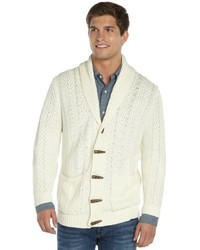 Quinn Ivory Cotton Dorset Cable Knit Long Sleeve Cardigan
