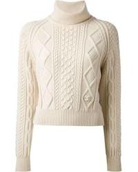 Beige Knit Cropped Sweater