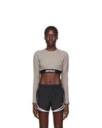 Nike Taupe Jdi Rip Long Sleeve Crop T Shirt