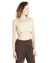 Wilson isabel knit crop top small cream medium 263835