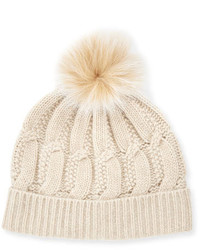 Cable knit cashmere fur pom beanie hat oatmeal medium 746291