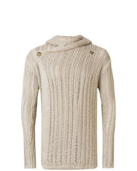 Rick Owens Wrap Front Open Knit Hooded Cardigan Unavailable