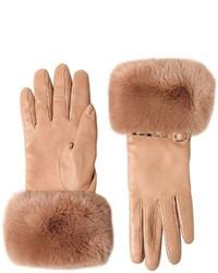 Beige Knit Leather Gloves
