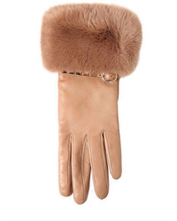 Valentino Rockstud Leather Rabbit Fur Gloves