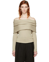 Rosetta Getty Beige Banded Off The Shoulder Pullover