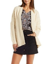 Charlotte Russe Slouchy Cable Knit Cardigan Sweater