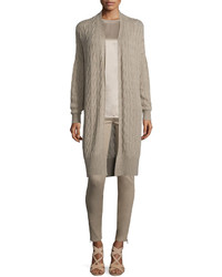 Ralph Lauren Collection Cable Knit Cashmere Long Cardigan Taupe