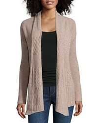 Hayden Butterscotch Cashmere Cable Knit Open Front Cardigan
