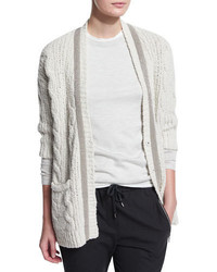 Brunello Cucinelli Monili Beaded Cable Knit Cardigan Ivory