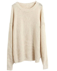 Women's Beige Knit Oversized Sweater, Blue Ripped Flare Jeans ...