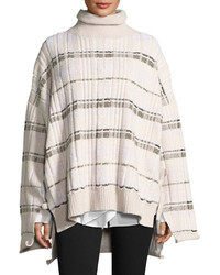 Abstract float plaid drape back knit poncho medium 5053787