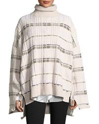 Abstract float plaid drape back knit poncho medium 5053787
