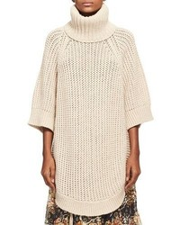 Chloe oversized chunky open knit turtleneck poncho beige medium 6471891