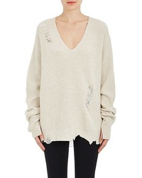 Helmut Lang Distressed Wool Cashmere Oversized Sweater
