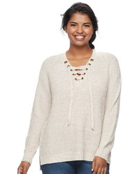 It's Our Time Juniors Plus Size Lace Up Sweater