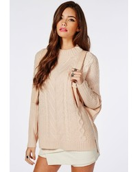 3224a0d2a66 ... Missguided Cable Front Oversized Slouch Knit Sweater Peach