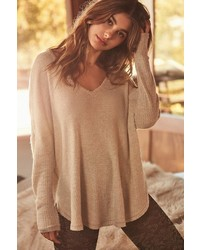 Out From Under Oversized Cozy Thermal V Neck Top
