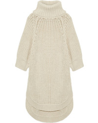 Oversized open knit turtleneck sweater cream medium 5084056
