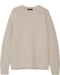 The Row Keyes Ribbed Wool And Cashmere Blend Sweater Beige