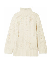 Current/Elliott The Vin Distressed Cable Knit Turtleneck Sweater