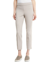 Peserico Double Knit Cropped Side Zip Pants Light Beige