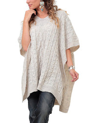 Beige Cable Knit Poncho Arm Warmers Plus