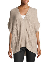 Love Scarlett Cable Knit Zip Up Poncho Heather Taupe