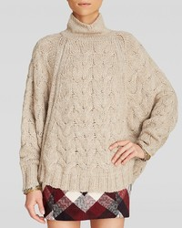 Free People Poncho Sweater Cable Zip