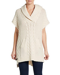 Joan Vass Shawl Cable Knit Poncho