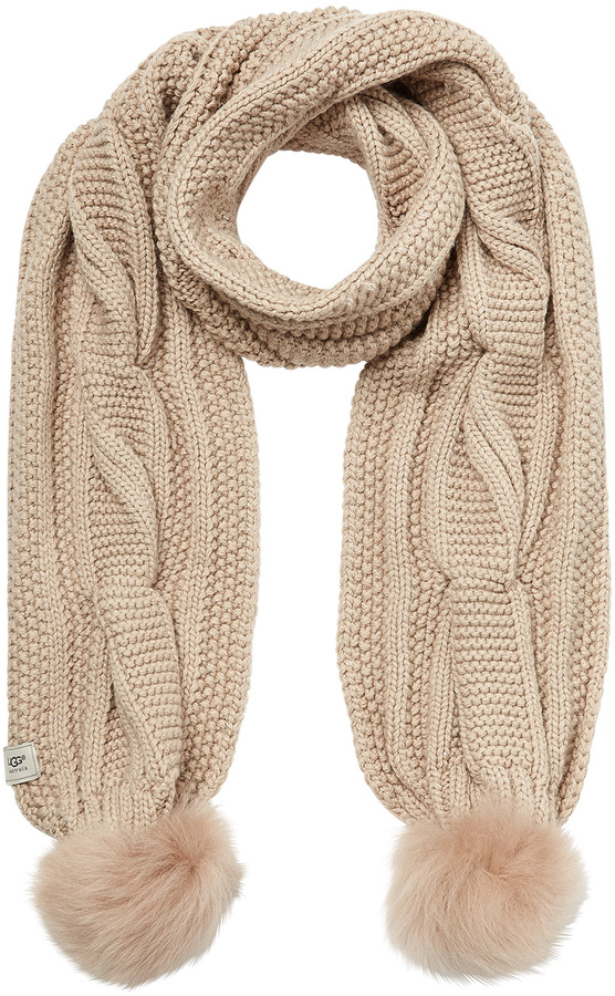 ... UGG Australia Wool Blend Scarf With Sheepskin Pom Poms ...