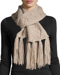 Il borgo cashmere tassel knit scarf beige medium 404684