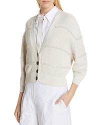 Brunello Cucinelli Textured Sequin Stripe Crop Cardigan