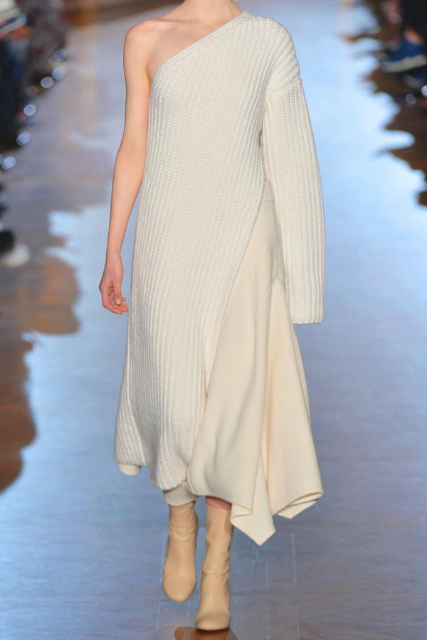 Stella Mccartney Asymmetric Ribbed Knit Wool Blend Sweater Dress