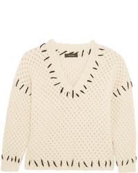 Isabel Marant Goldy Chunky Knit Wool Blend Sweater Ecru