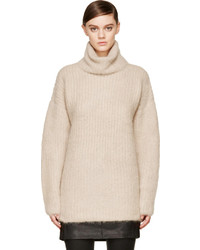 Beige veneered angora turtleneck medium 114217