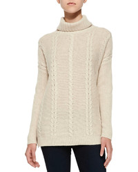 Cashmere collection cable knit cashmere turtlenck soft beige medium 114220