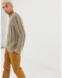 ASOS DESIGN Hand Knitted Heavyweight Turtle Neck Jumper In Oatmeal