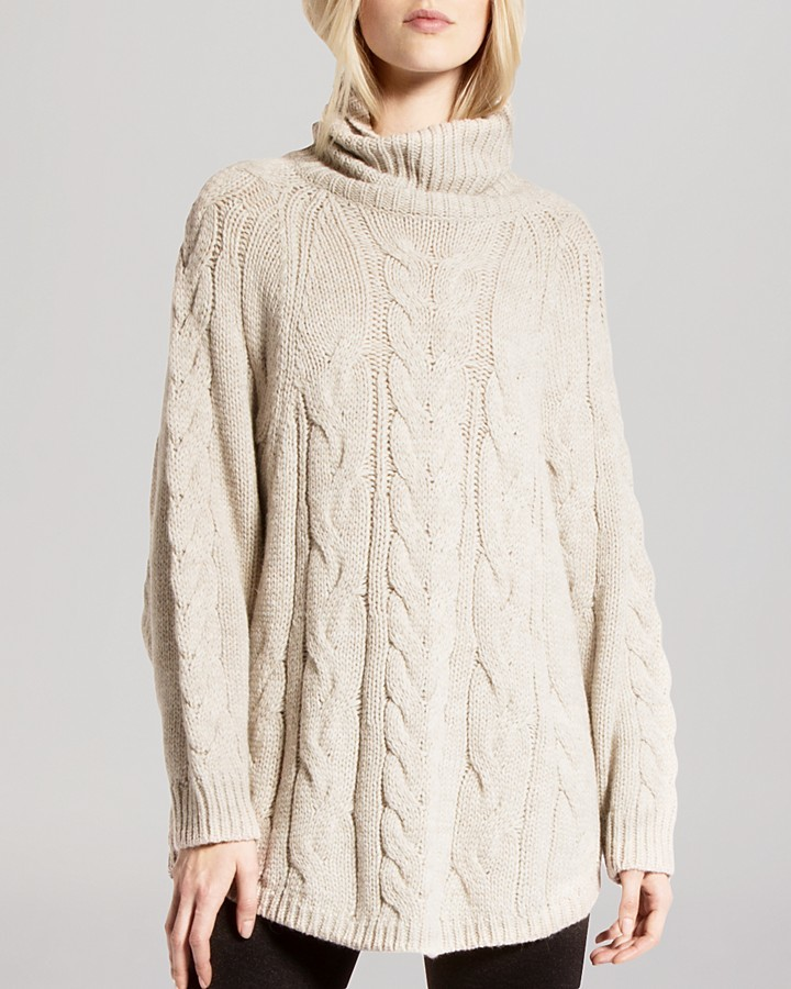 Halston Heritage Sweater Oversized Turtleneck Cable Stitch Wool ...