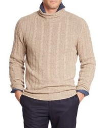 Isaia Turtleneck Cable Knit Cashmere Sweater