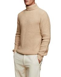 Topman Turtleneck Waffle Knit Sweater