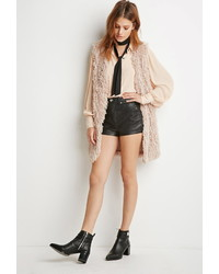 Forever 21 Contemporary Shaggy Knit Longline Vest