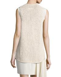 Maison Margiela Open Knit Sweater Vest Beige