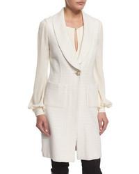 St. John Collection Yani Knit Shawl Collar Vest Alabaster