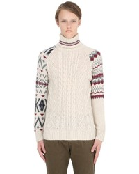 Beige Knit Wool Turtleneck