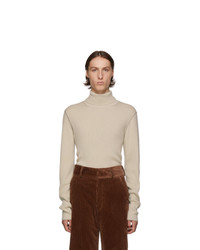 Dries Van Noten Beige Ribbed Merino Turtleneck