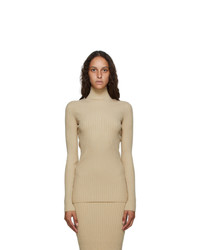 MM6 MAISON MARGIELA Beige Tight Knit Turtleneck