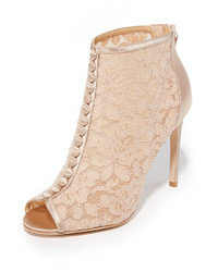 Beige Lace Ankle Boots