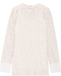 Lanvin Crepe De Chine Trimmed Corded Lace Top Beige