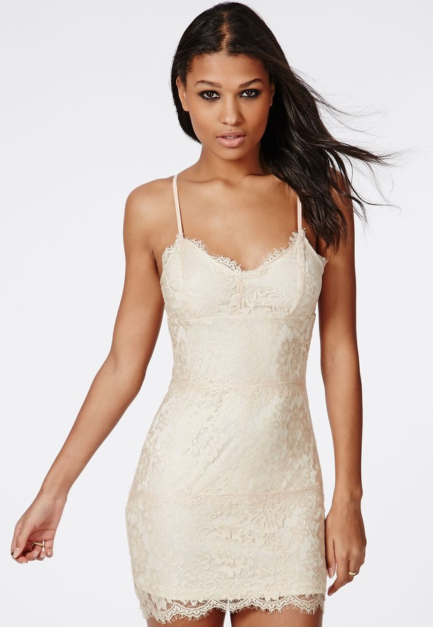 fa36d4ebce0d Missguided Lace Strappy Bodycon Dress Nude, $50 | Missguided ...